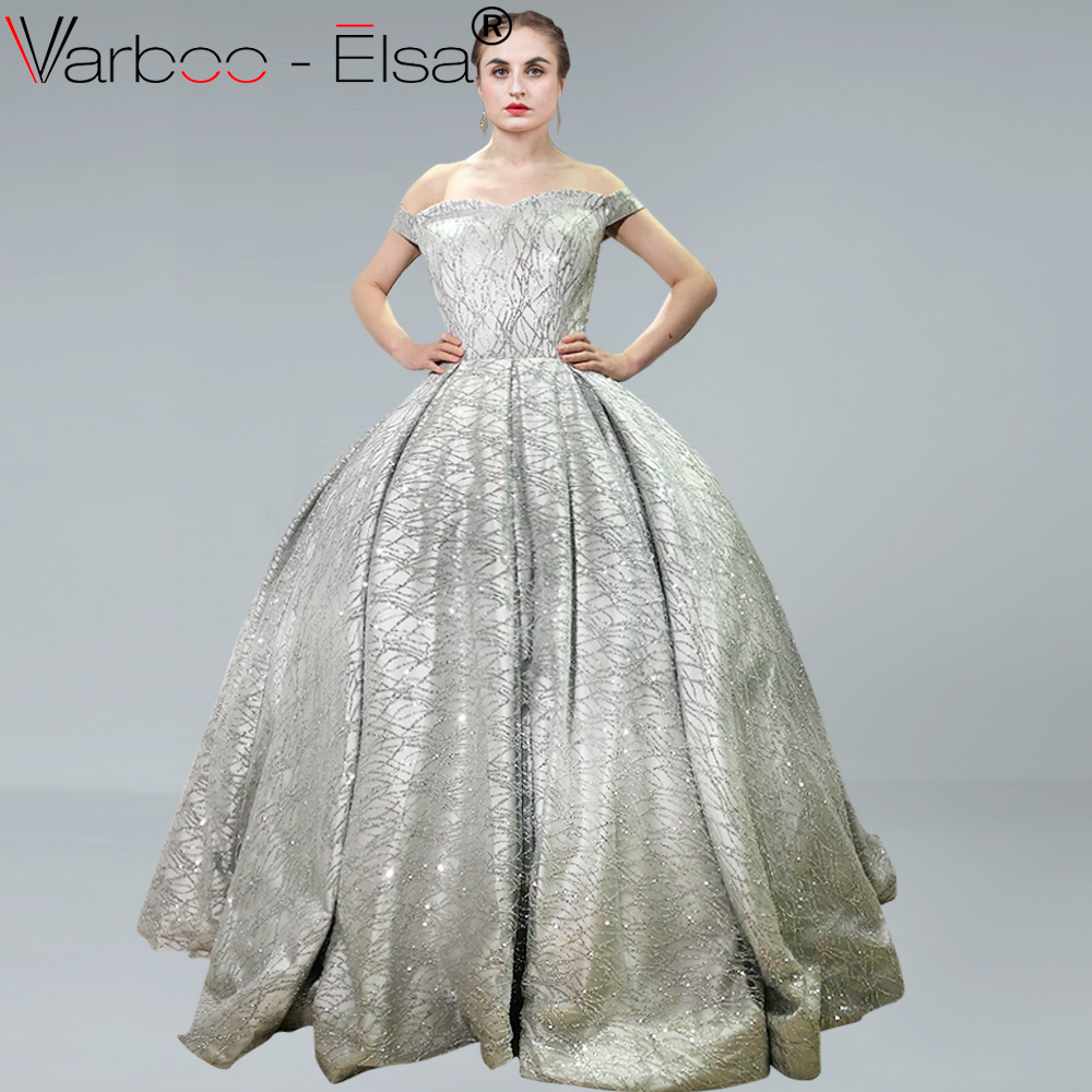 VARBOO ELSA Silver Luxury Prom Gowns Shiny Sequined Long Prom Dresses  Empire Abiye Formal Dress Robe De Soiree 2018 Abendkleider 54a4e28b1e05