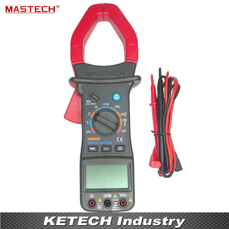 Clamp Meter AC Digital Multimeter 1000A Voltage Current Resistance Frequency Tester Mastech M9912 auto digital clamp meter mastech ms2108a pincers ac dc current voltage capacitor resistance tester aimometer multimeter amper