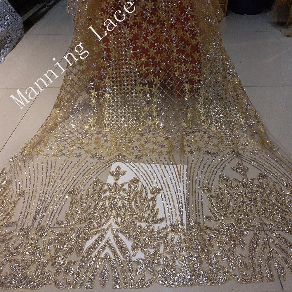 Wedding Dress Fabric.Us 52 29 37 Off Indian Evening Fabric Shimmering Gold Sequins African Luxury Wedding Dress Fabric Nigerian Embroidery In Lace From Home Garden On
