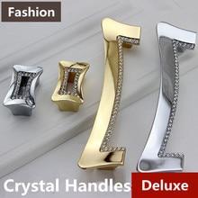 128mm Top quality rhinestone furniture handles k9 crystal wine cabinet watch tv table pulls knob silver gold dresser door handle