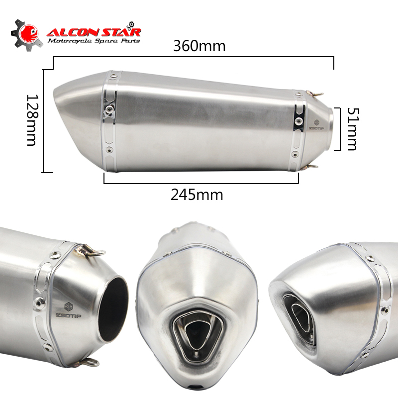 Alconstar- 51mm Motorcycle Motorbike Exhaust Muffler GP Escape Racing End Pipe with DB Killer for HONDA for Kawasaki Z800 MT09