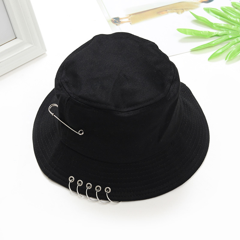 New Women's Large Brim <font><b>BTS</b></font> POP Iron Ring Bucket Hats Man 100% cotton handmade rings Hip Hop Fisherman Caps Gorras Sun image