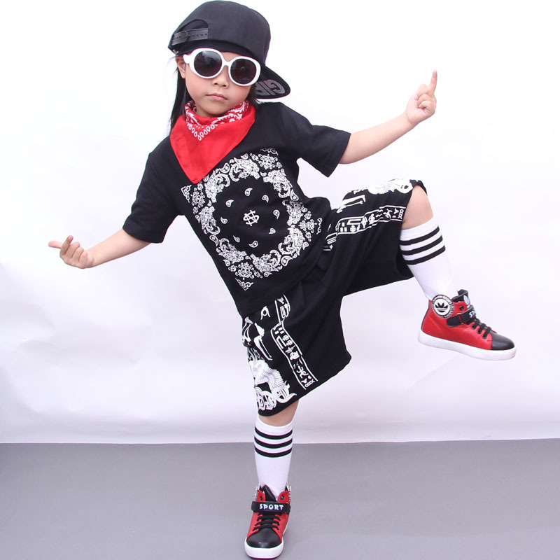 2017 Summer New Fashion Kids Clothes Rock Punk Style Hiphop Street Dance Boy Clothes Set Short