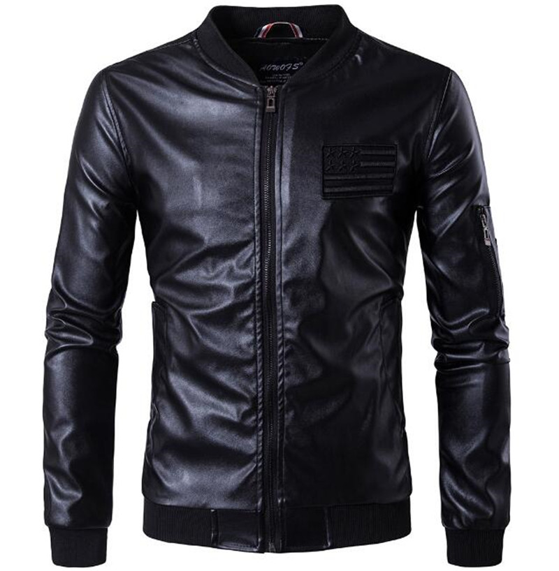 New Motorcycle Jacket Men Retro PU Leather Jacket Punk Windproof Coat Faux Leather Moto Jacket Motorbike Clothes oxyfashion slideup универсальный размер m 4 3 5 black