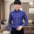 2016 New Arrival Autumn Mens Casual Shirts Mens Plaid Shirts Long Sleeve Men Dress Shirt Slim Fit Plus Size Imported Clothing
