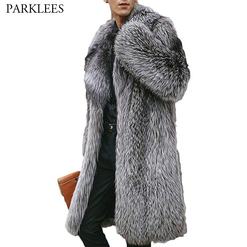 Mannen Luxe Noorden Winter Warm Faux Fur Lange Jas 2018 Brand New Faux Fox Fur Thicken Notched Overjas Mannen punk Uitloper Grijs-in Kunstleerjassen van Mannenkleding op  Groep 1
