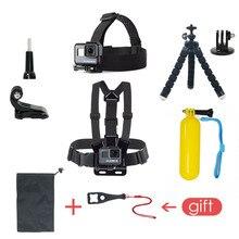 Pack accessoires Pour Gopro Hero 6 5 Fixation Poitrine Pour Go pro Hero 5 Flotteur Grille Pour Xiaomi Yi 4K SJCAM Kit Pour EKEN H9 Caméra Daction