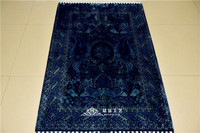 Mingxin 3x4.5ft Black Blue Colour Antique Silk Muslim Carpet Hand Knotted Prayer Rugs Area Rug Room Mat Tapis