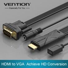 Конвенция Марка Кабеля HDMI к VGA Достижения Преобразования HD Плоский Кабель с Аудио и Функции Источника Питания для Ноутбуков TV Box PS4 СТБ