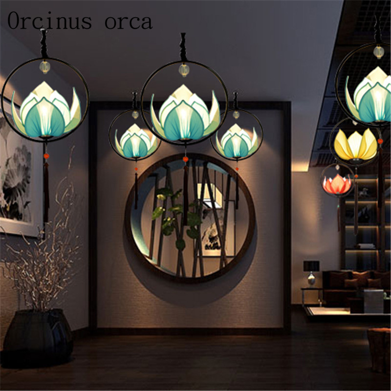 Modern new Chinese style chandelier creative personality decorative lotus lamp imitation classical aisle Restaurant Restaurant L chinese style antique wooden sheepskin chandelier lamp three classical teahouse atmosphere restaurant head send bless