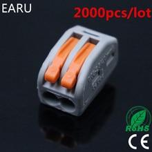 2000 adet rusça 222 412 için PCT 212 evrensel kompakt tel kablo konnektörü 2pin İletken Terminal bloğu kol 0.08 2.5mm2