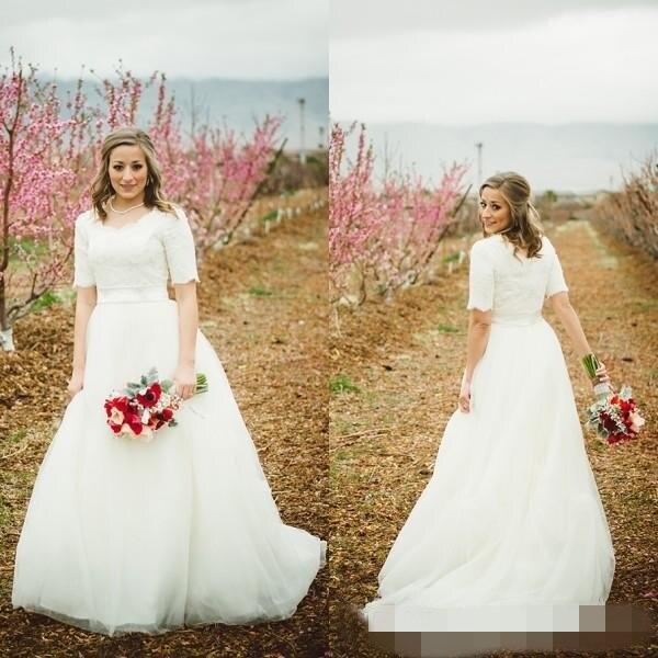 Modest Wedding Dresses 2019: 2019 A Line Lace Top Modest Wedding Dresses With Half