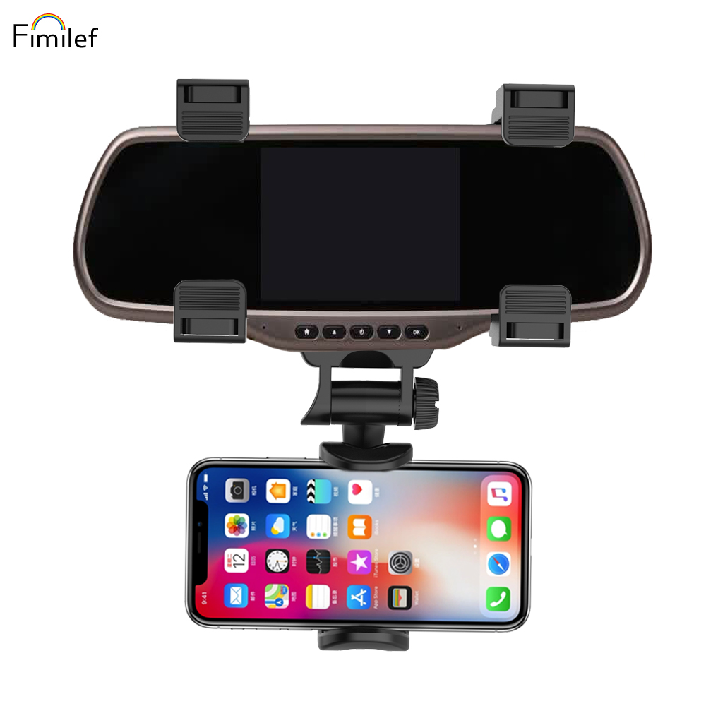 Fimilef Car Rearview Mirror Phone Holder Adjustable Phone Stand Black Smartphone Car Holder For Phone Mobile Phone Accessories