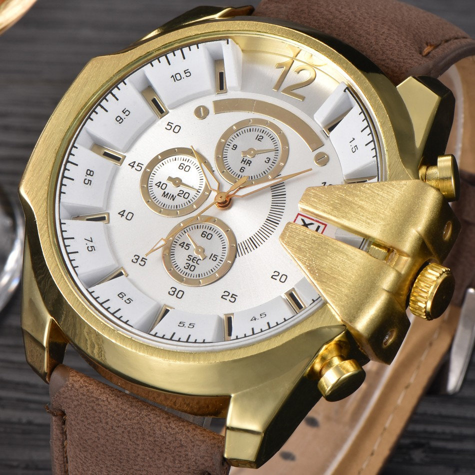 Hot Sale Men s Clock Analog Steel Case Quartz Watch Big Dial PU Leather Wrist Sport