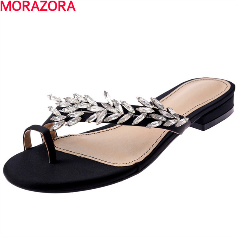 MORAZORA popular rhinestone top quality Shoes Women Sandals New leisure Flip Flops flat ladies summer woman beach shoes women sandals 2016 fashion new flat women sandals rhinestone ladies shoes