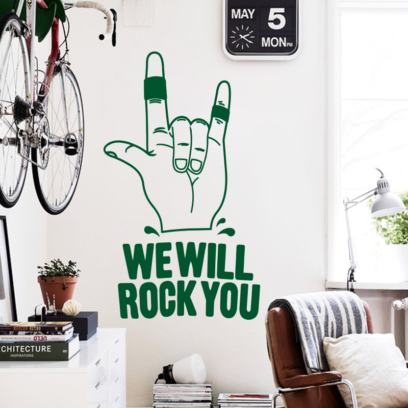 Art design home decoration cheap vinyl we will rock you wall sticker removable house decor famous English song decal in bedroom