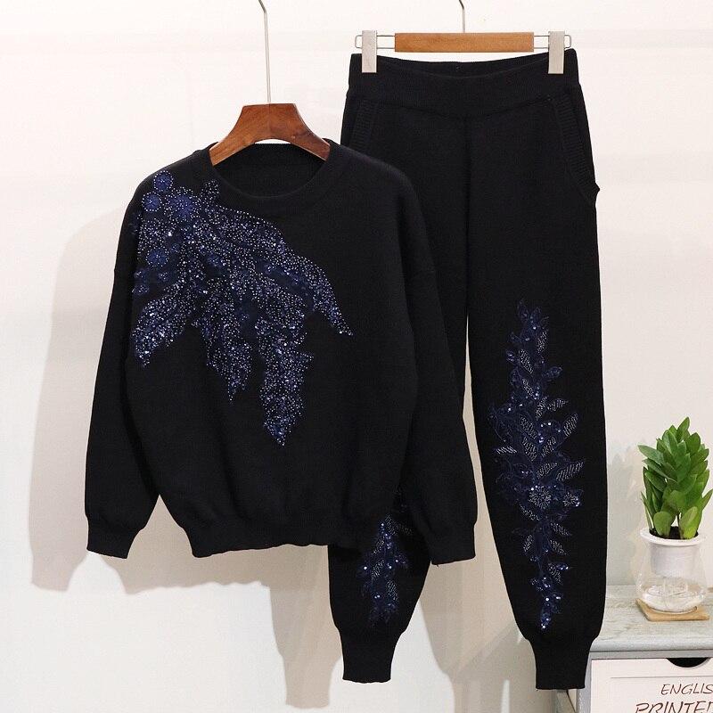 2019 automne femmes brodé paillettes fleur à manches longues chandails + pantalons décontractés deux pièces étudiant tricoté survêtement femmes ensemble