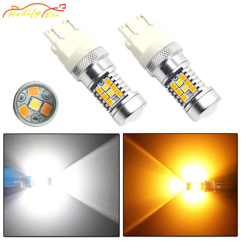 Modify.Era 2pcs 3157 3357 3457 Car LED Bulbs For DRL Turn Signal Lights Dual-Color Switchback 28-SMD High Power Auto Led Lights