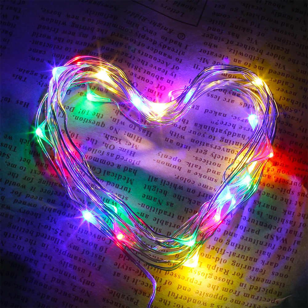 Гибкий Медь серебряной проволоки светодиодный гирлянды Водонепроницаемый праздничное освещение для Фея Рождественская елка Свадебная вечеринка украшения