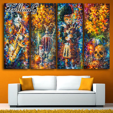 FULLCANG diy 4pcs/set diamond embroidery abstract cat & skull painting 5d large mosaic full square/round drill picture FC1114