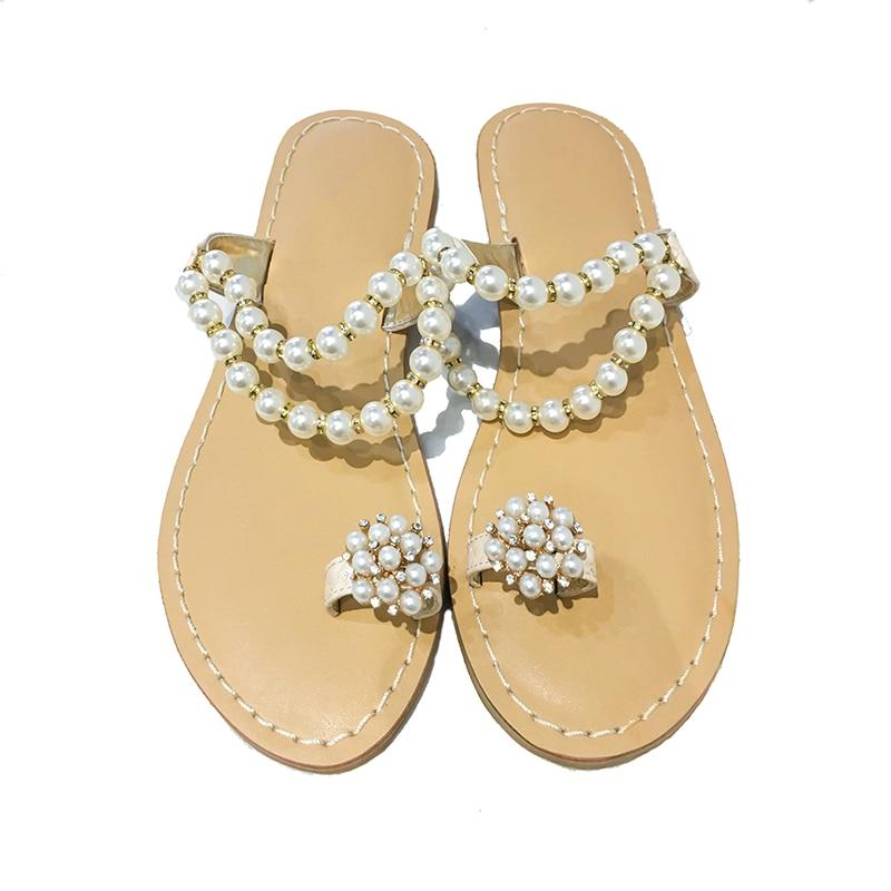 69f38960fe85 Slipper Thong Beach Beads String Rhinestone Leisure toe Slide Sandals Pearl  Simple Straps Bling Women Sandals Girl s Summer Y1qBHwH