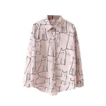 Cute Cat Print Loose Casual Ladies Blosues Tops Women Turn Down Collar Long Sleeve Shirt Blouse Femme 6