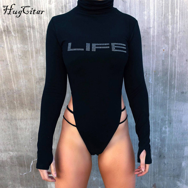 Hugcitar long sleeve high neck letters print hollow out bodycon sexy bodysuit 2018 autumn winter women fashion body