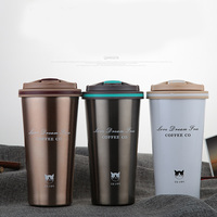 500ml Stainless Steel Vacuum Water Bottle Cafe Shape For Car Kid Coffee Tea Milk Stainless Steel Rubber Suction Base Anti skid