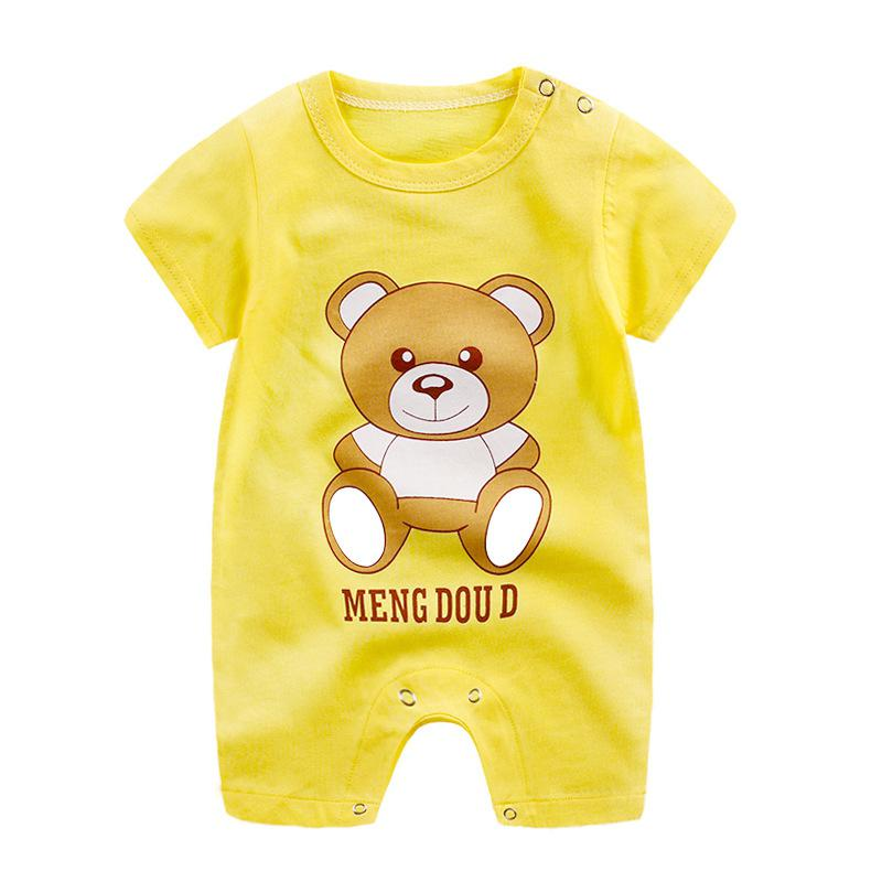 2019 Summer New Style Cartoon Printing Short   Romper   Cotton Sleeve Jumpsuit Button Open-Crotch   Romper   for Babies 0-12M   Rompers