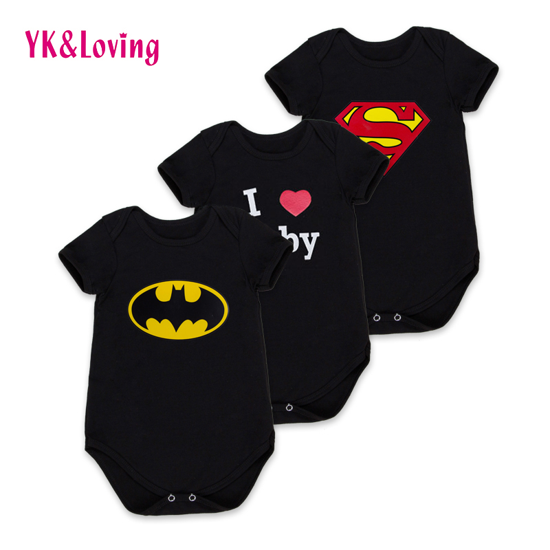 Batman Black Newborn Baby Boy Rompers Baby Clothes Cute