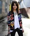 2016 Sudadera mujer de Manga Larga Impreso Zipper cardigan Jacket Outwear plus tamaño mujer tops chaqueta