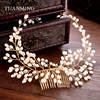 TUANMING 1PC Vintage Hair Jewelry New Arrival Simulated Pearl Bridal Hair Comb Women Gold Hair Accessories