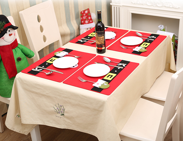 new red christmas table mat flannel 45x34cm table pads eco friendly home table decoration cute