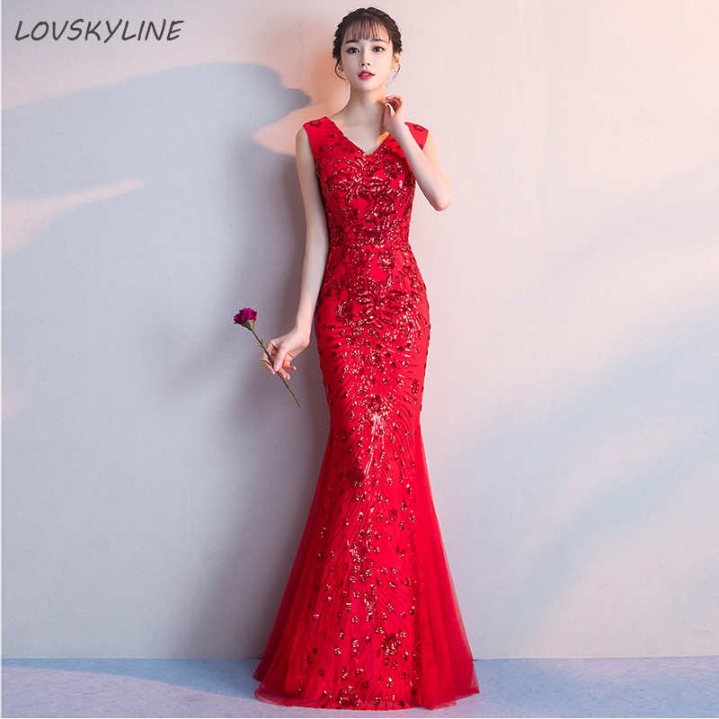 Long   Bridesmaid     Dresses   Red Sequins new banquet noble and elegant Wedding Party   Dresses   for   Bridesmaids   2018 Prom Gown