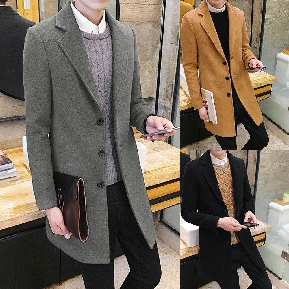 2018 Heißer Männer Formale Einreiher Herauszufinden Mantel Lange Wolle Jacke Stilvolle Outwear Mäntel #0725