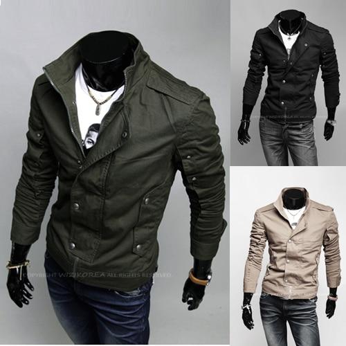 Unique cutting fashion slim jacket short design casual jacket male ...
