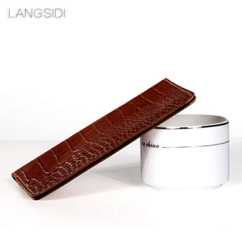 Mewah Merek Genuine Calf Leather Phone Case Buaya Tekstur Flip Multi-Fungsi Ponsel Casing untuk Huawei Honor7X Tangan membuat