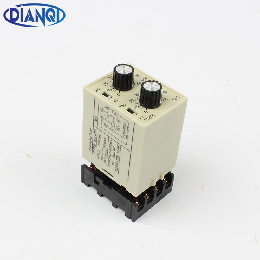 ST3PR electrical time relay Electronic Counter relays digital timer relay with socket base AC 220V