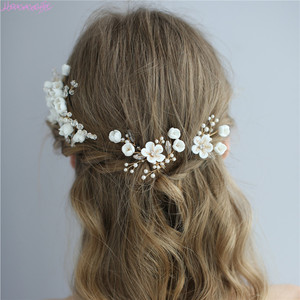 Image 2 - Jonnafe עדין חתונת שיער תכשיטי פורצלן פרח כלה שיער מסרק סיכות בעבודת יד נשים לנשף כיסוי ראש