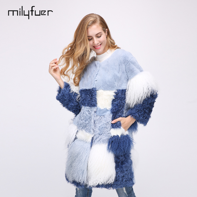 Milyfuer Real Mongolia Sheep Fur Coats Women Long Rabbit Fur Patchwork Autumn Winter Warm Slim Casual Real Fur Coats For Female
