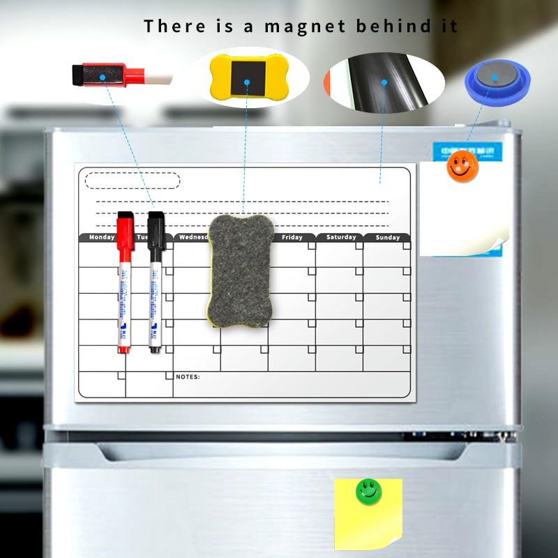 Placa magnética A3 calendario mensual seco borrar pizarra magnética blanco de dibujo para la cocina nevera refrigerador cepilladora