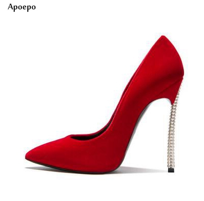 New Fashion Red Suede High Heel Shoes 12CM Pointed Toe Thin Heels Shoe for Woman 2018 Sexy Crystal Embellished Stiletto Heels