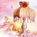 Ткань лампа Прикроватная лампа принцесса главная спальня стиль сада розовый свадебные украшения свадебный подарок теплый затемнения