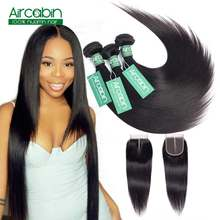 Straight Human Hair Bundles With Closure Peruvian Hair Weave 3 Bundles With Lace Closure Non-Remy Extensions Natural Black(China)