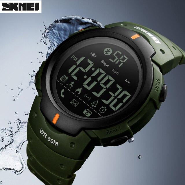 שעון חכם Bluetooth מד צעדים קלוריות אופנה שעוני יד דיגיטלית מצלמה מרחוק SKMEI ספורט Smartwatch עבור iPhone אנדרואיד