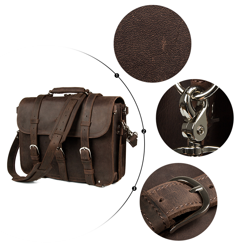 Augus Top Quality Crazy Horse Leather Handbag Vintage And Casual Shoulder Bag For Travelling Coffee 7072R-1 augus imported top layer leather messenger bag high quality crazy horse handbag brand new shoulder for men 7205r