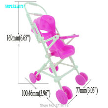Kid Play House Nursery Furniture Pink Stroller Plastic Trolley Accessories Toys For Barbie Kelly Size Doll 1 : 12 Puppet Gift