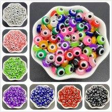 Miçangas espaçadoras de resina 50 peças, espaçador de contas oval mal olho tira miçangas para fabricação de jóias diy pulseira e colar presentes para mulheres