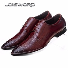 LOISWORD Crocodile grain wine red black pointed toe dress shoes mens business shoes genuine leather formal