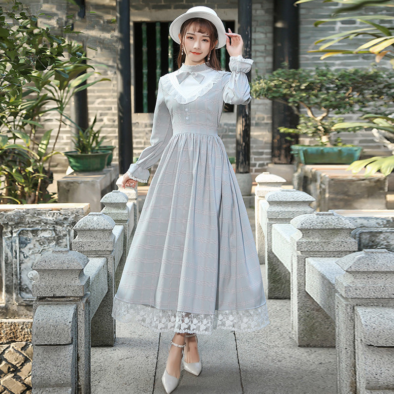 Spring Autumn Women Vintage Retro Elegant Long Dress Palace Style Long Sleeve Plaid Lace Patchwork modis